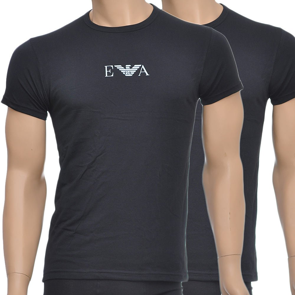 Black t shirt armani - Emporio Armani Stretch Bi Pack Crew Neck T Shirt Black