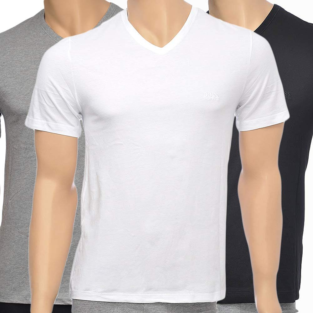 HUGO BOSS 3-Pack Cotton Classic V-Neck T-Shirt, Black/