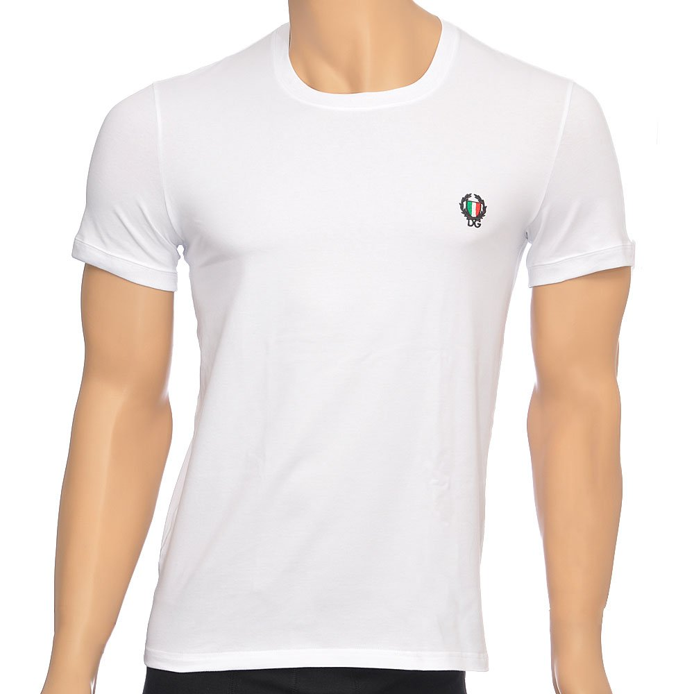 Dolce gabbana sport crest crew neck stretch cotton t for Crew neck white t shirt