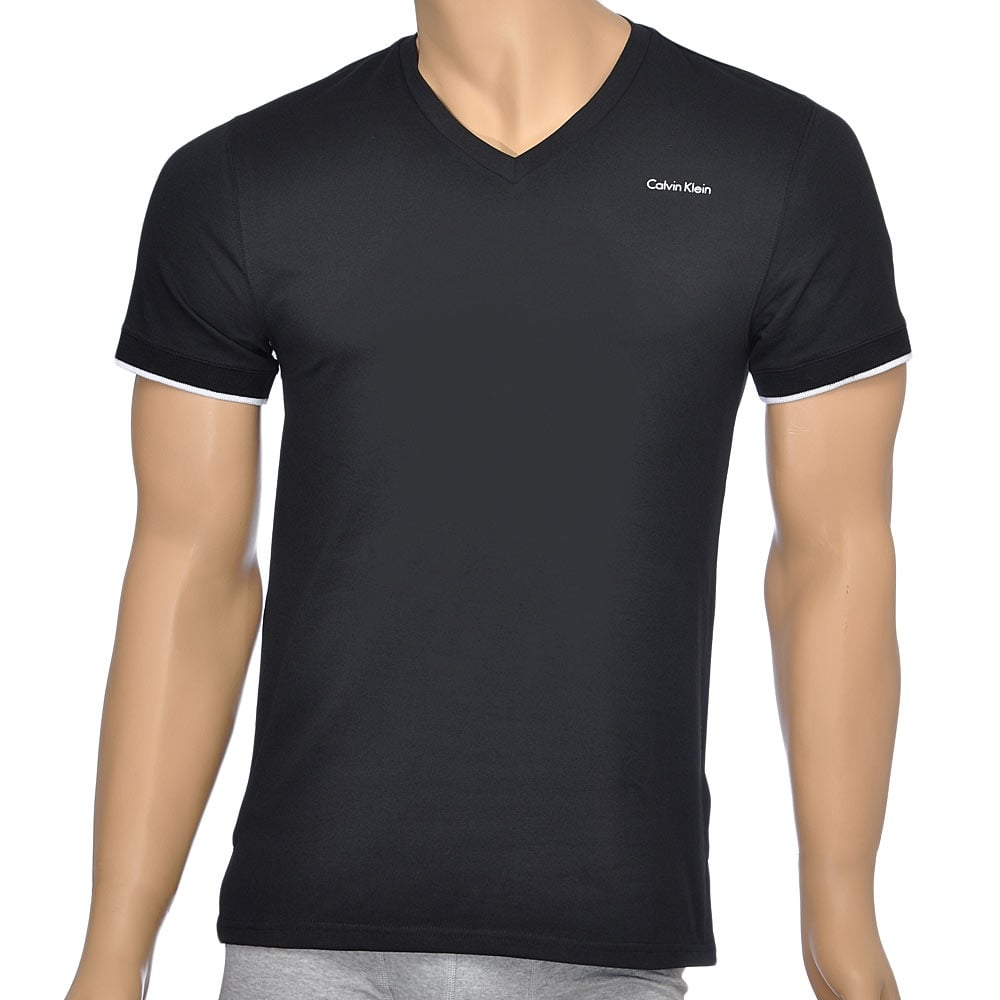 calvin klein swimwear core solid short sleeve v neck t shirt black. Black Bedroom Furniture Sets. Home Design Ideas