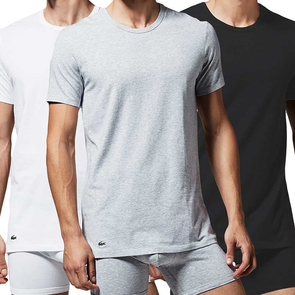 Black t shirt pack - Lacoste Essentials Supima Cotton 3 Pack Crew Neck T Shirt Black Grey