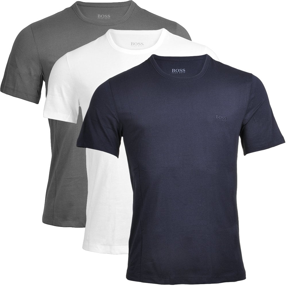Hugo boss 3 pack cotton classic crew neck t shirt grey for Hugo boss t shirts online