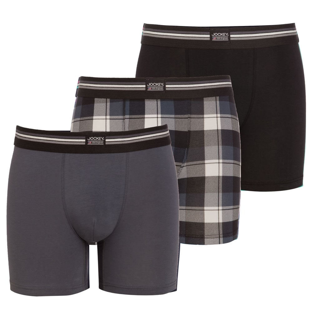 Jockey Cotton Stretch 3-Pack Boxer Trunk, Black / Check / Grey. ‹