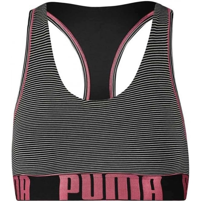 PUMA Cotton Modal Stretch Mini Stripe Bralette, Black / Pink