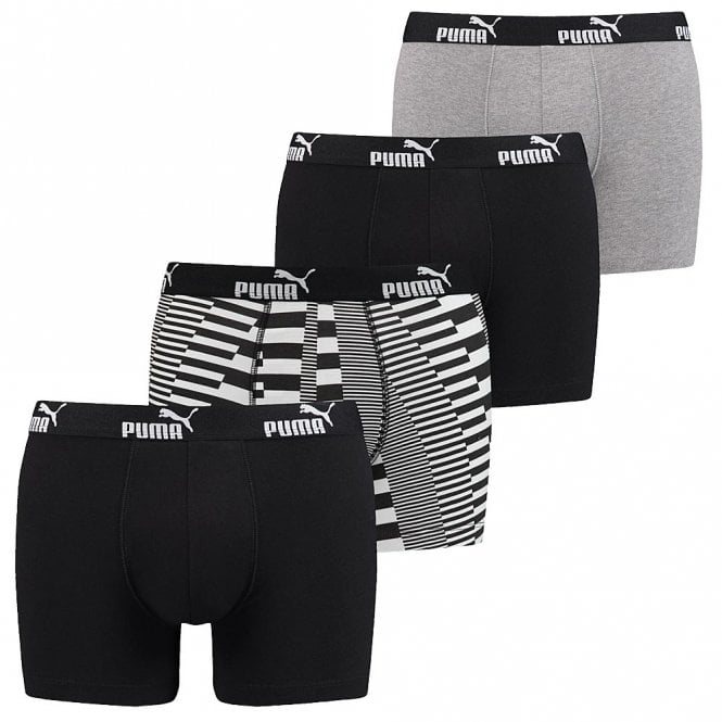 PUMA Cotton Stretch 4-Pack Promo Print Boxers, Black