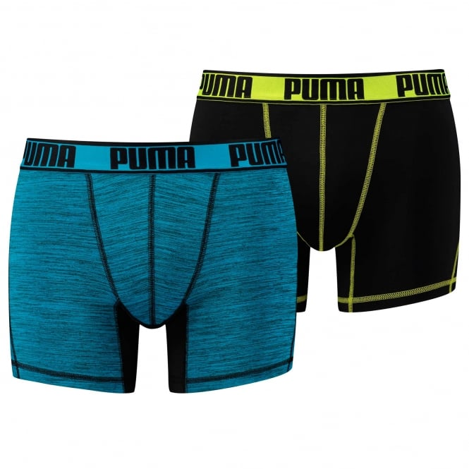 PUMA Sport Active Microfiber 2-Pack Boxers, Black / Lime / Blue