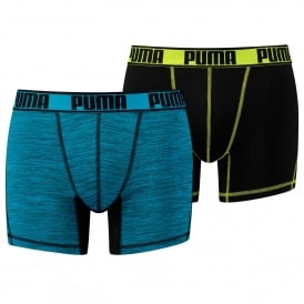 Sport Active Microfiber 2-Pack Boxers, Black / Lime / Blue