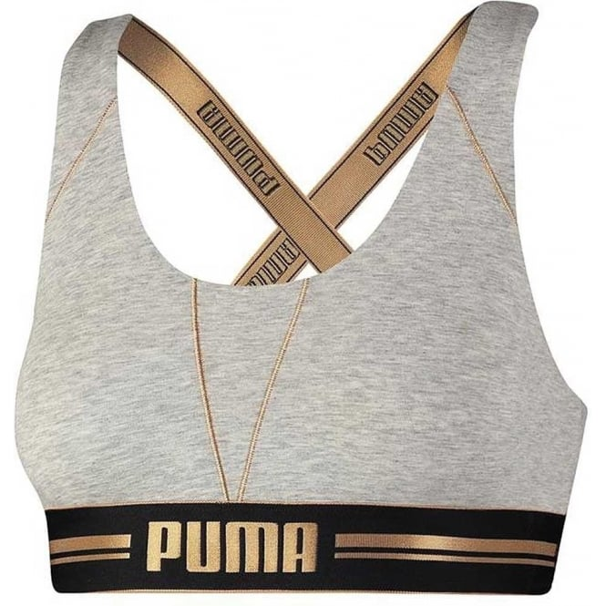 PUMA Women Cotton Modal Stretch Cross-Back Bra, Grey/Gold