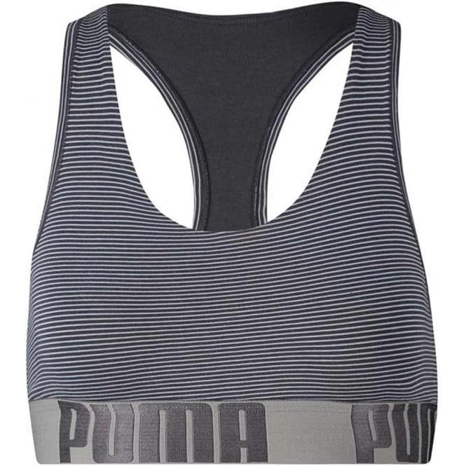 PUMA Women Cotton Modal Stretch Mini Stripe Bralette, Light Blue / Periscope