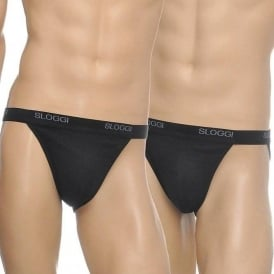 Basic 2-Pack Tanga, Black