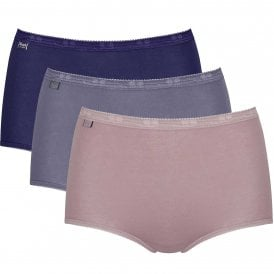 Basic 3 Pack Maxi Brief, Lilac / Dark Combination