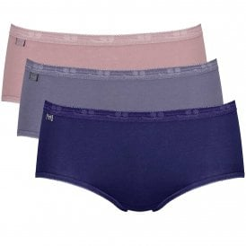 Basic 3 Pack Midi Brief, Lilac / Dark Combination