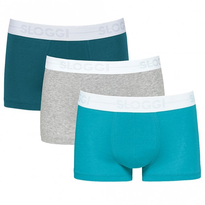 Sloggi GO 3-Pack Hipster, Turquoise Blue/Teal Green/Heather Grey