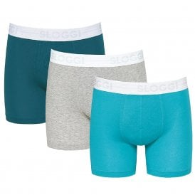 GO 3-Pack Short, Turquoise Blue/Teal Green/Heather Grey