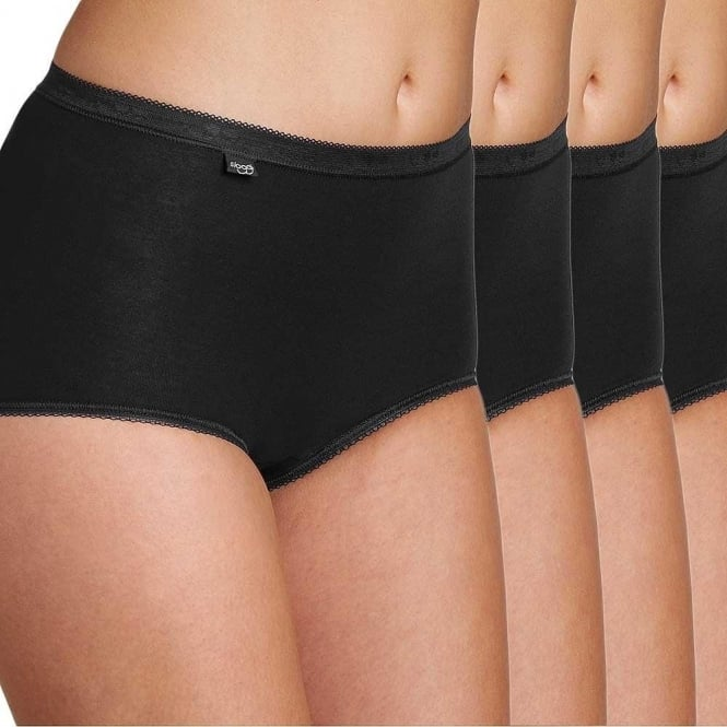 Sloggi Women Basic 4 Pack Maxi Brief, Black