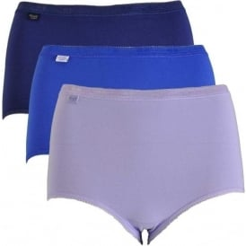Basic 3 Pack Maxi Brief, Blue/Navy/Purple