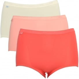Basic 3 Pack Maxi Brief, Cream/Salmon Pinks