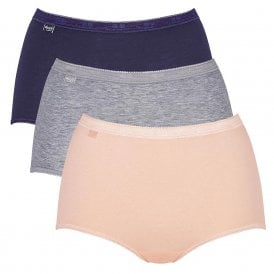 Basic 3 Pack Maxi Brief, Navy/Peach/Grey