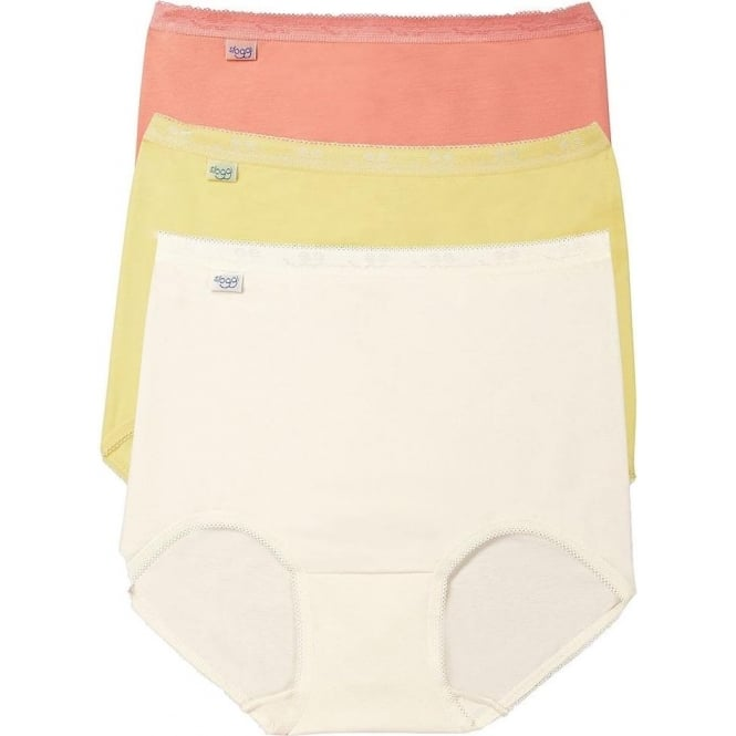 Sloggi Basic 3 Pack Maxi Brief, Peach/Lemon/Cream