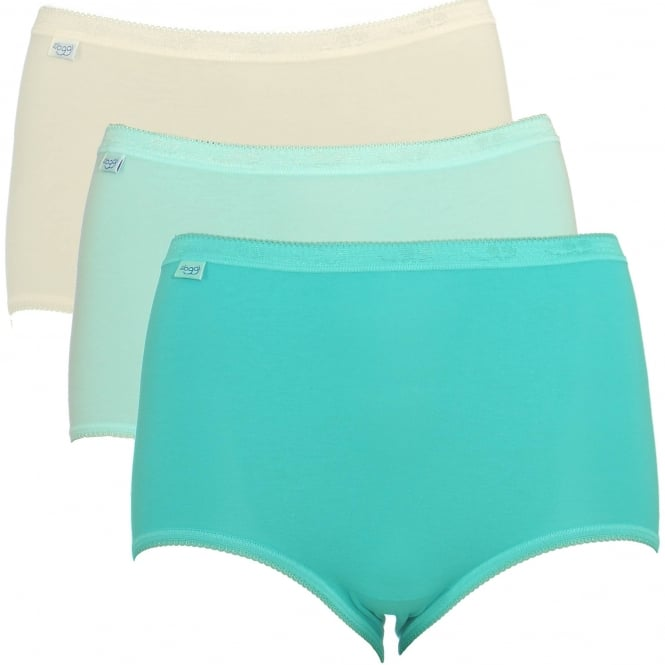 Sloggi Women Basic 3 Pack Maxi Brief, Turquoise/Cream