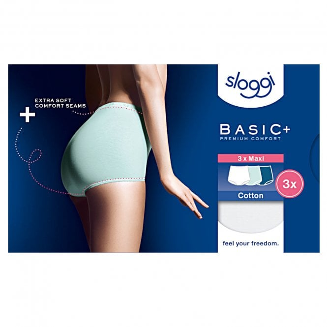 Sloggi Women Basic 3 Pack Maxi Brief, Turquoise - Dark Combo