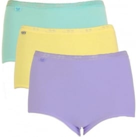 Basic 3 Pack Maxi Brief, Turquoise/Yellow/Purple