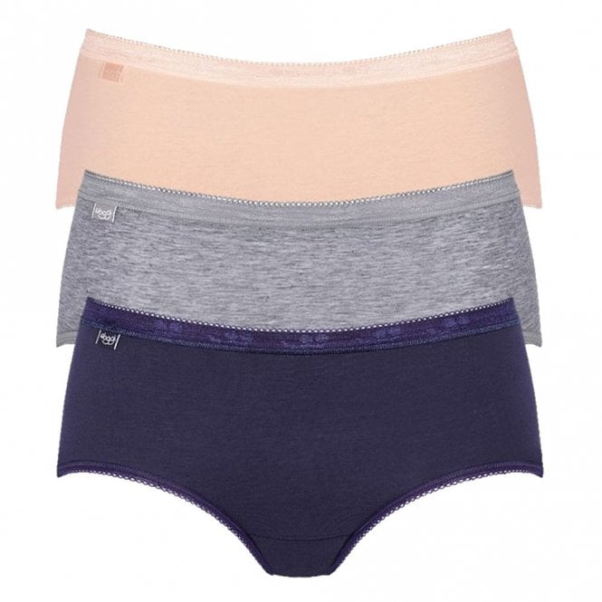 Sloggi Women Basic 3 Pack Midi Brief, Navy/Peach/Grey