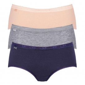 Basic 3 Pack Midi Brief, Navy/Peach/Grey
