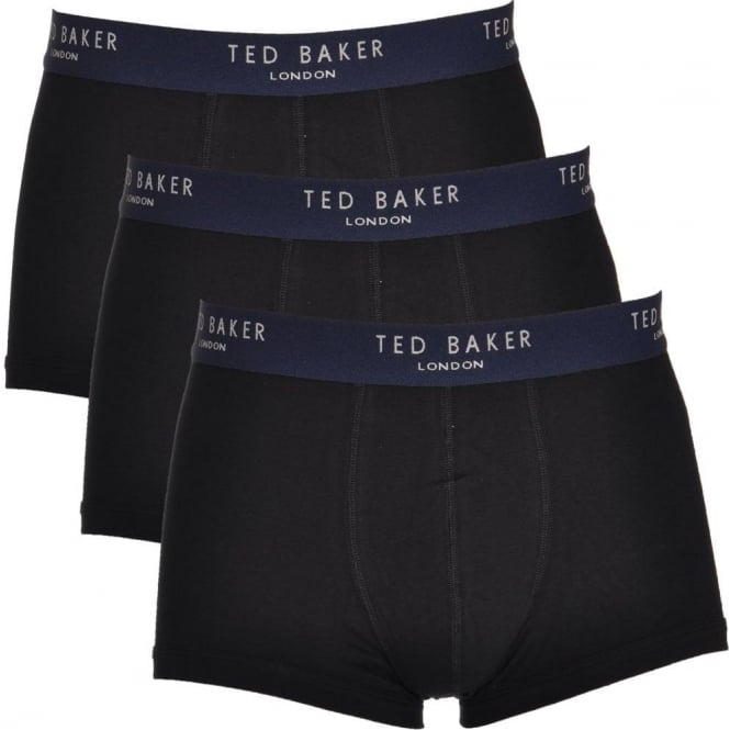 TED BAKER Cotton Stretch 3-Pack Boxer Trunk, Black