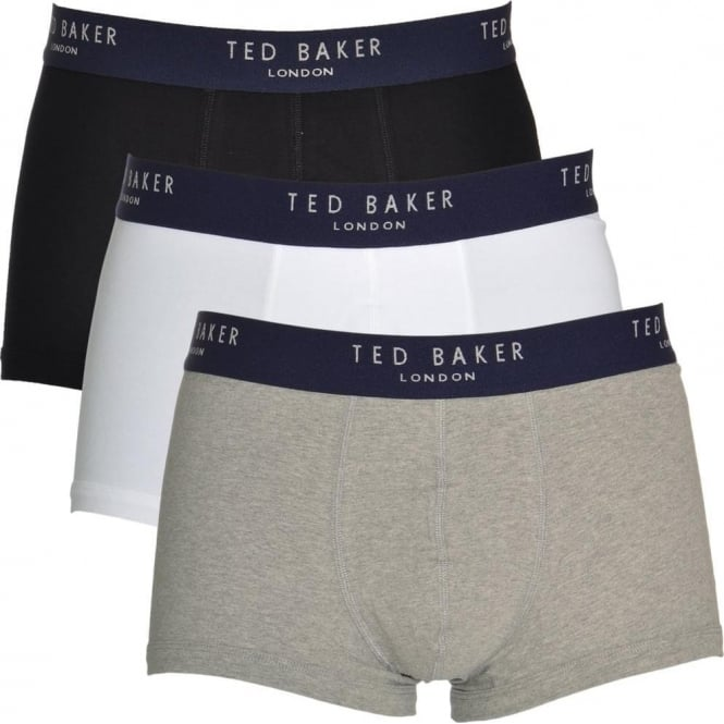 TED BAKER Cotton Stretch 3-Pack Boxer Trunk, Black/White/Grey