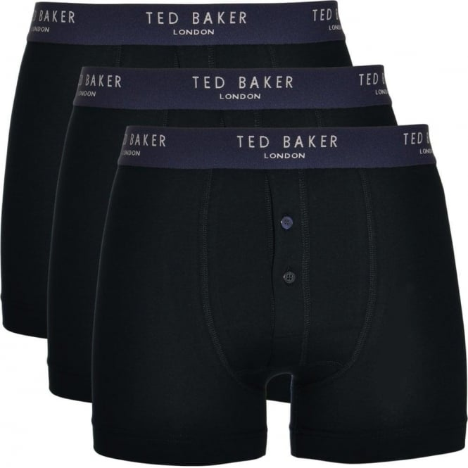 TED BAKER Cotton Stretch 3-Pack Button Front Boxer Brief, Black