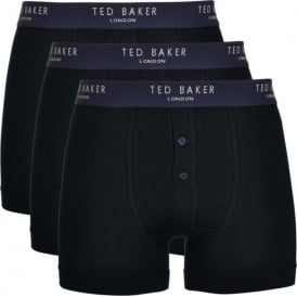 Cotton Stretch 3-Pack Button Front Boxer Brief, Black