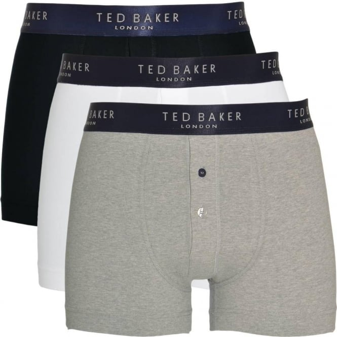 TED BAKER Cotton Stretch 3-Pack Button Front Boxer Brief, Black/White/Grey