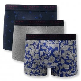Cotton Stretch 3-Pack Trunk, Ava / Grey Heather / Dazzling Blue