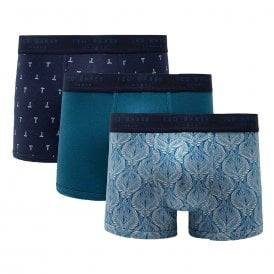 Cotton Stretch 3-Pack Trunk, Gilded / Ink Blue / Subtle T