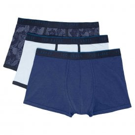 Cotton Stretch 3-Pack Trunk, Navy / Light Blue / Print