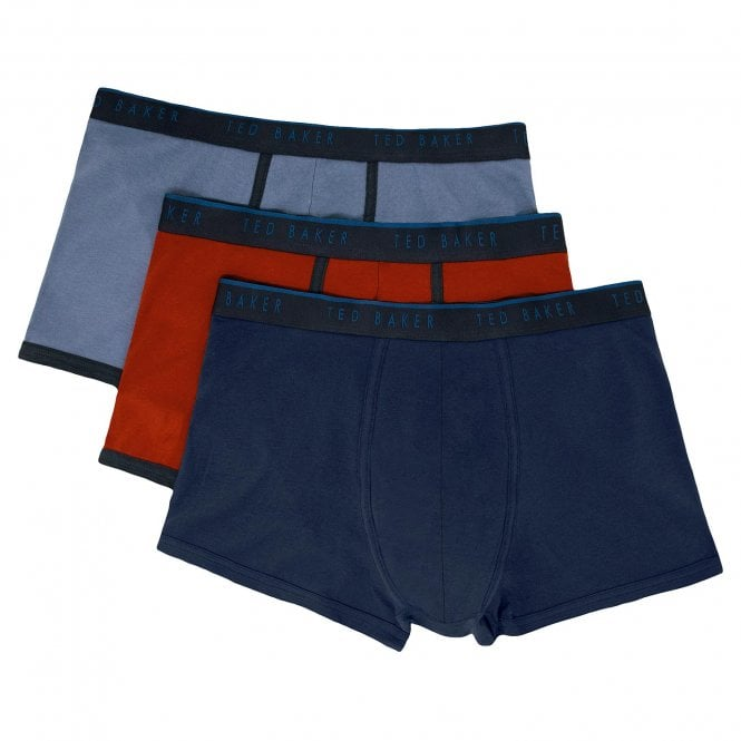 TED BAKER Cotton Stretch 3-Pack Trunk, Navy / Red / Blue