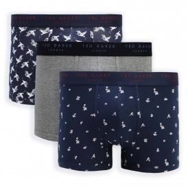 Cotton Stretch 3-Pack Trunk, Sky Captain Crane / Grey Heather / Navy Luau