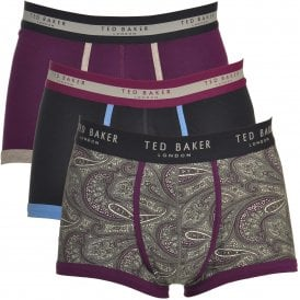 GEENA Cotton Stretch 3-Pack Boxer Trunk, Purple / Navy / Print
