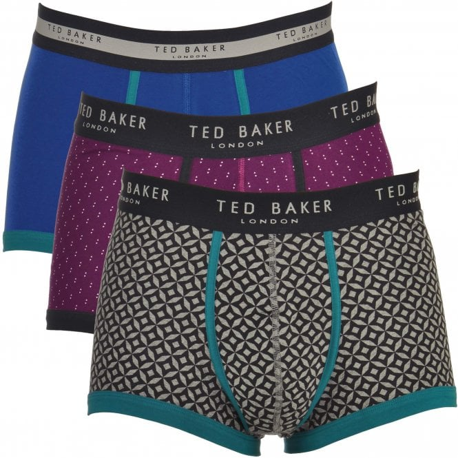 TED BAKER MATCHES Cotton Stretch 3-Pack Boxer Trunk, Blue / Purple Print / Grey Print
