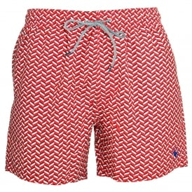 CAVEN Rectangle Geo Swim Shorts, Red