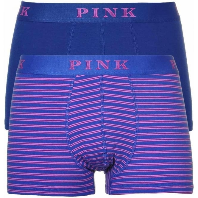 Thomas Pink Cotton Stretch 2 Pack Trunk, Oxford Blue/Fuchsia Stripe