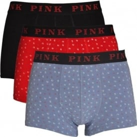 Cotton Stretch 3 Pack Trunk DOUGLAS, Red / Black / Blue Print