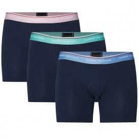 Premium Essentials Stretch Cotton 3-Pack Boxer Brief, Black With Cornflower Blue/Cascade/Pink Lady