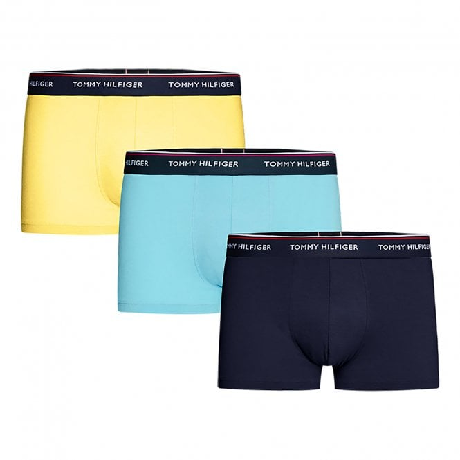 Tommy Hilfiger Premium Essentials Stretch Cotton 3-Pack Boxer Brief, Peacoat / Blue Grotto / Primrose Yellow
