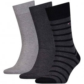 3-Pack Cotton Logo Socks, Grey / Charcoal / Stripe