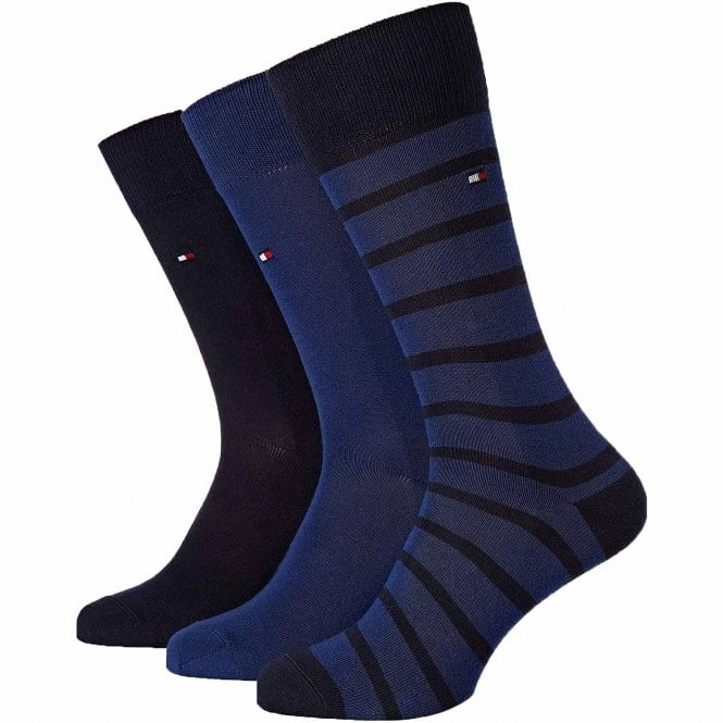 Tommy Hilfiger 3-Pack Cotton Logo Socks, Navy / Blue / Stripe