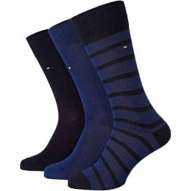 3-Pack Cotton Logo Socks, Navy / Blue / Stripe