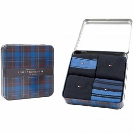 4 Pack Tin Gift Box Stripe Cotton Logo Socks, Dark Navy