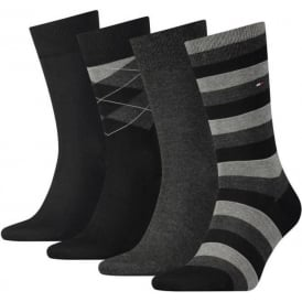 4 Pack Tin Giftbox Cotton Logo Socks, Black